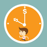 Businessman running out of time vector. Businessman running in clock out of time vector Stock Photo