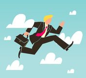 Businessman running over the clouds Stock Photo
