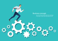 Businessman running over machine gear wheel cog wheel showing work life action strategy.  Royalty Free Stock Photography