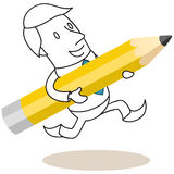 Businessman running with pencil. Vector illustration of a monochrome cartoon character: Smiling businessman running with huge pencil in his hands stock illustration