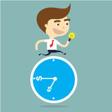 Businessman running  present idea over the blue clock vector Royalty Free Stock Image
