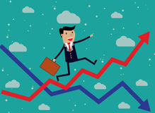 Businessman Running Red Arrow Graph Up. Climbing. vector illustration in flat design on green backgound Stock Photography