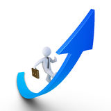 Businessman running on a rising graph. 3d businessman is running on a graph going upwards Royalty Free Stock Images