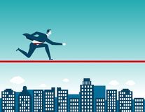 Businessman running on rope. Concept business illustration. Vector flat Stock Images