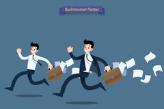 Businessman running rush in a hurry by work late with suitcase and falling papers behind and feel very busy. Vector illustration design stock illustration