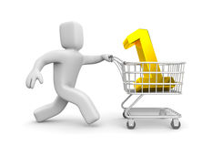 Businessman running with shopping cart Stock Images