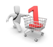Businessman running with shopping cart Royalty Free Stock Photo