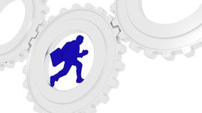 Businessman running in silver gears Royalty Free Stock Photography