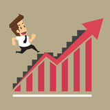 Businessman running on the stairs, arrow level increases Stock Image