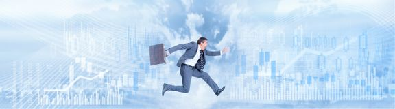 Running businessman background stock image