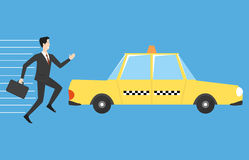 Businessman running for taxi. A man in a suit runs to the taxi car royalty free illustration