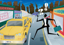 Businessman Running for a Taxi in NYC Stock Images