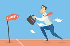Businessman running to finish. Businessman running to finish with briefcase on race Royalty Free Stock Image
