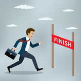 Businessman running to the finish line. Businessman running at the finish line. Vector illustration Stock Images