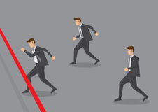 Businessman Running to Finish Line Vector Illustration. Vector illustration of three businessman running towards finish line. Conceptual design for business Royalty Free Stock Photos