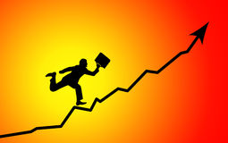 Businessman running to graph peak. Silhouette of businessman running to graph peak Royalty Free Stock Photography