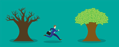 Businessman Running To Money Tree Royalty Free Stock Photo