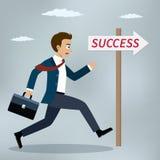 Businessman running to success. Stock Photos
