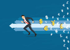 Businessman running to success vector illustration with money symbol icon background, business concept illustration Stock Images