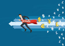 Businessman running to success with a winner banner, business concept vector illustration Royalty Free Stock Image