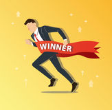 Businessman running to success with a winner banner, business concept vector illustration Stock Photo
