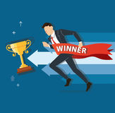 Businessman running to success with a winner banner, business concept vector illustration Royalty Free Stock Photography