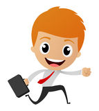 Businessman running to work Stock Images