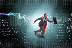 The businessman running towards digital achievements royalty free stock images