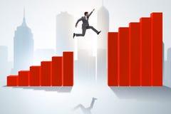 The businessman running towards economic success. Businessman running towards economic success vector illustration