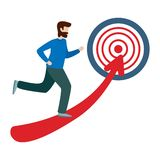 Businessman running towards the goal. Business concept goal and success stock illustration
