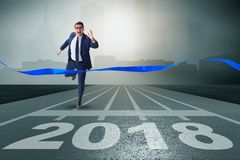 Businessman running towards new year  2018 Stock Photography