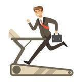 Businessman running on a treadmill vector Illustration Royalty Free Stock Images