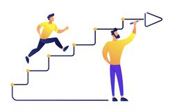 Businessman running up drawn stairs with arrow vector illustration. Business success and career ladder, goal achievement, staircase to success and vector illustration