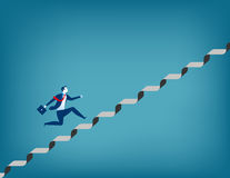 Businessman running up staircase. Concept business illustration. Vector flat Stock Photo