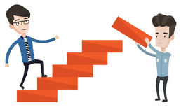 Businessman running upstairs vector illustration. Royalty Free Stock Images