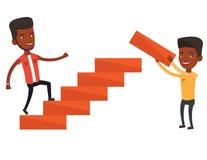 Businessman running upstairs vector illustration. Stock Photo