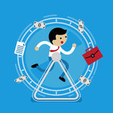 Businessman running in the wheel Royalty Free Stock Photos