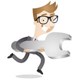 Businessman running with wrench Royalty Free Stock Photography
