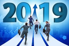 The businessman running into year of 2019 royalty free stock photo