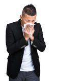 Businessman runny nose Royalty Free Stock Photos
