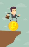 Businessman runs into the abyss. On the coin, vector illustration Royalty Free Stock Images