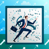 Businessman runs against on chaotic hours. Businessman runs against on background of chaotic hours clock, work mad time. Business concept. Cartoon flat vector Royalty Free Stock Image