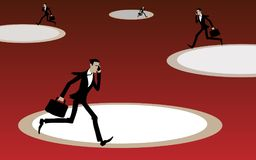 The businessman runs in a circle. Stock Photos