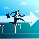 Businessman runs and overcomes obstacles. The successful businessman runs to the purpose and overcomes all obstacles in the way. Concept. Vector illustration Royalty Free Stock Photography