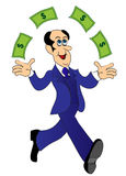 Businessman runs and throws money Royalty Free Stock Photo