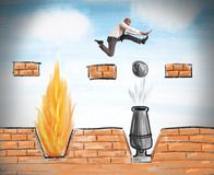 Businessman runs to overcome obstacles stock illustration