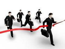 Businessman runs to tape. On 3d image render group of the businessman runs to tape on white background Stock Photos