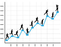 Businessman Runs Up Business Profit Chart Graph Stock Photo