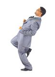 Businessman runs up the career Stock Images