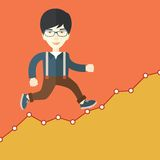 Businessman runs up the hill Royalty Free Stock Photo